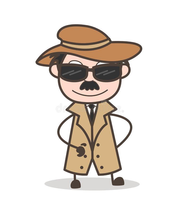 Ejemplo detective moderno de Wears Sunglasses Vector del oficial de la historieta ilustración del vector