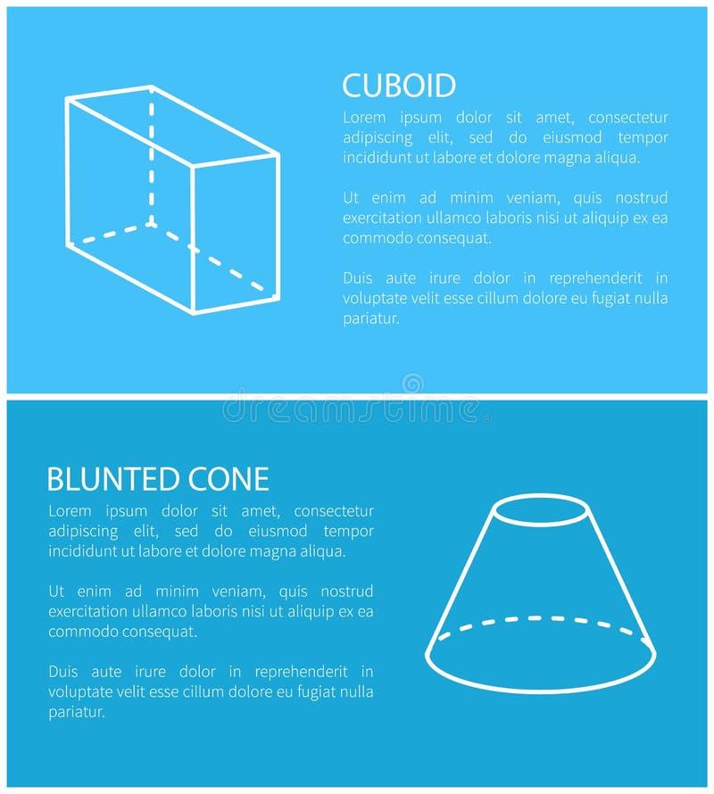 Ejemplo determinado cuboide y embotado del vector del cono libre illustration