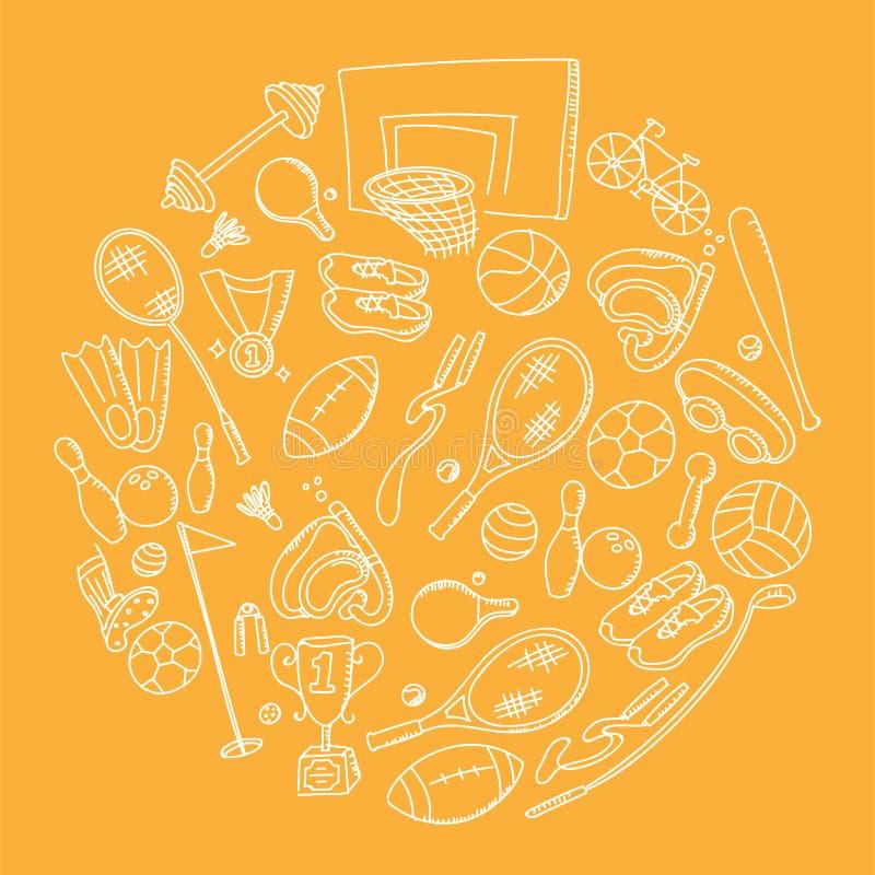 Ejemplo determinado de dibujo de la forma del círculo del fondo del modelo de la mano de los niños del equipo de deportes aislado stock de ilustración