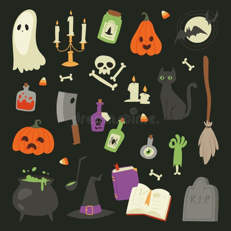 Ejemplo determinado de la colección del vector de los iconos de los símbolos del carnaval de Halloween con la calabaza y el fanta libre illustration