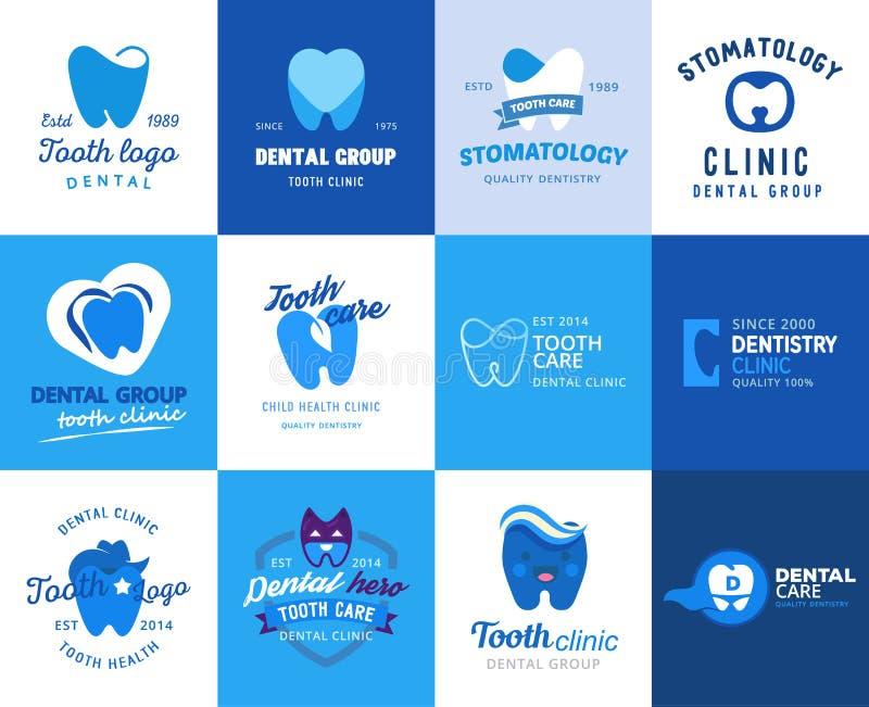 Ejemplo determinado del diente del logotipo del vector del dentista de la clínica del logotipo del toothcare del icono de la esto libre illustration