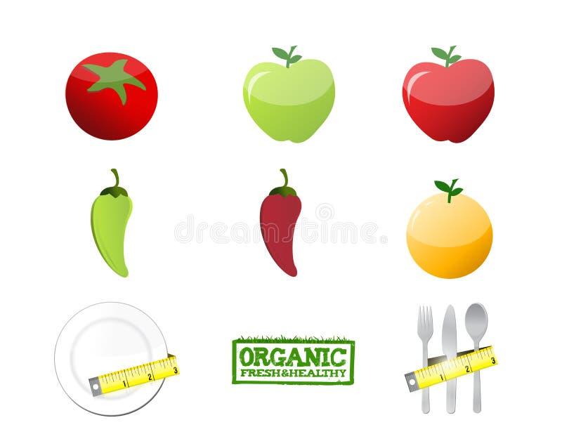 ejemplo determinado del icono del concepto de la dieta sana libre illustration