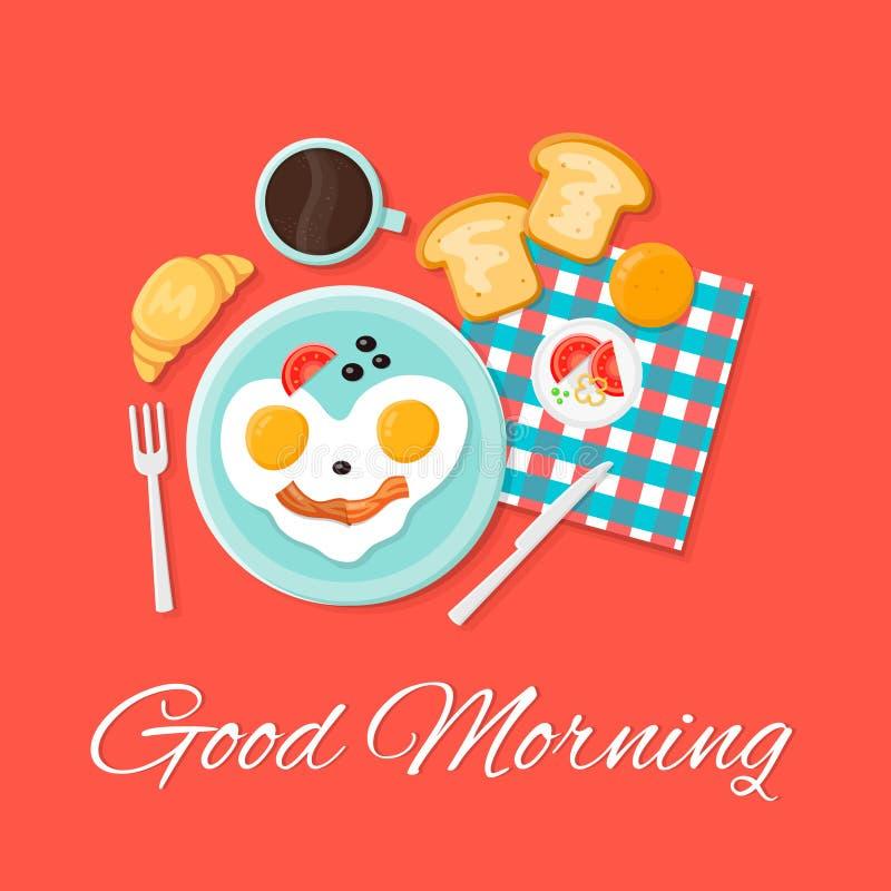 Ejemplo determinado del icono plano del vector del desayuno Buenos días Sonrisa de los huevos, tostada, cruasán, ilustración del vector