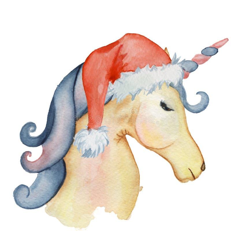 Ejemplo determinado del invierno de la Navidad de la acuarela linda de los unicornios ilustración del vector