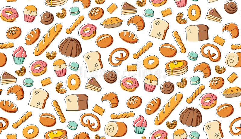 Ejemplo determinado del modelo del fondo de la panadería de los niños del dibujo inconsútil de la mano ilustración del vector
