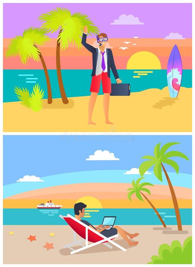 Ejemplo determinado del trabajo del verano y del vector de la playa libre illustration