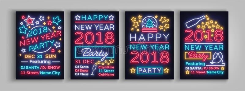 Ejemplo determinado del vector del cartel de la Feliz Año Nuevo 2018 Señales de neón Diseño del folleto de la colección en un est stock de ilustración