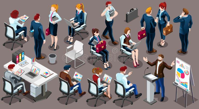 Ejemplo determinado del vector de la gente de funcionamiento del icono isométrico del personal 3D ilustración del vector