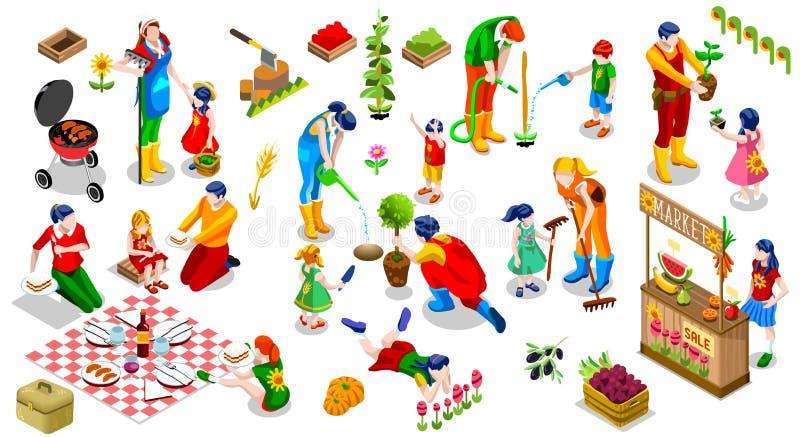 Ejemplo determinado del vector de la gente de la familia de la planta del icono isométrico del árbol libre illustration