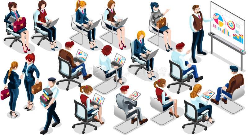 Ejemplo determinado del vector de la gente de venta del icono isométrico del entrenamiento 3D stock de ilustración