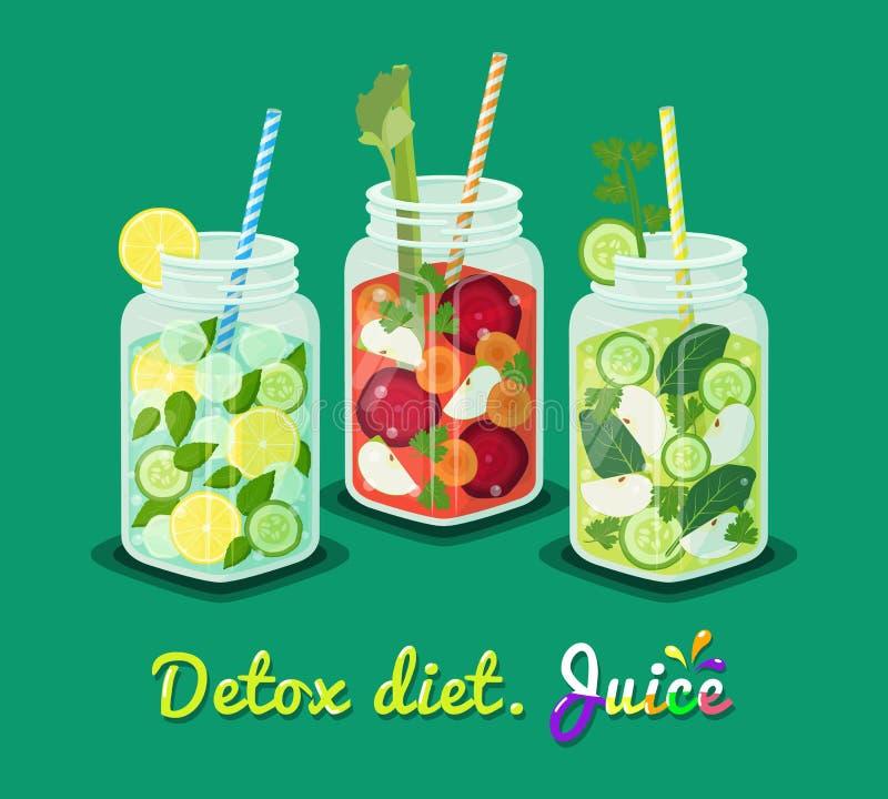 Ejemplo determinado del vector de la taza del cartel de la dieta del Detox stock de ilustración