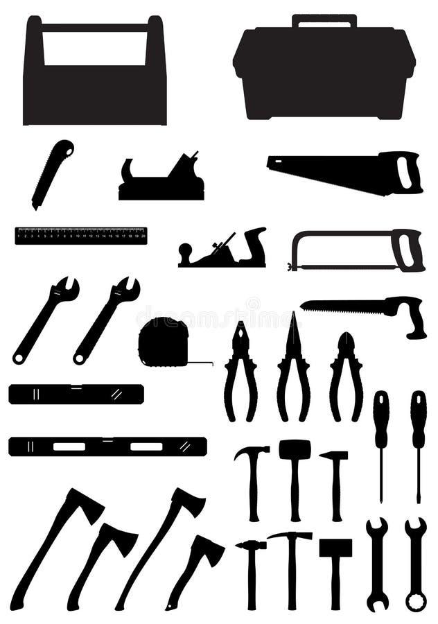 Ejemplo determinado del vector de los iconos de las herramientas de la silueta negra ilustración del vector