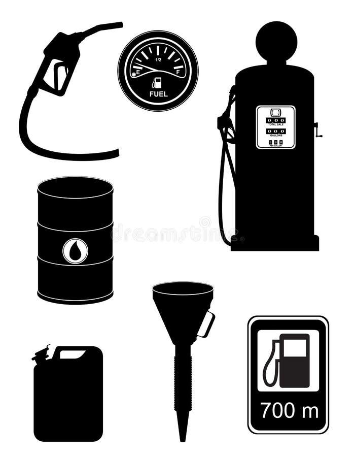 Ejemplo determinado del vector de los iconos del combustible negro de la silueta stock de ilustración