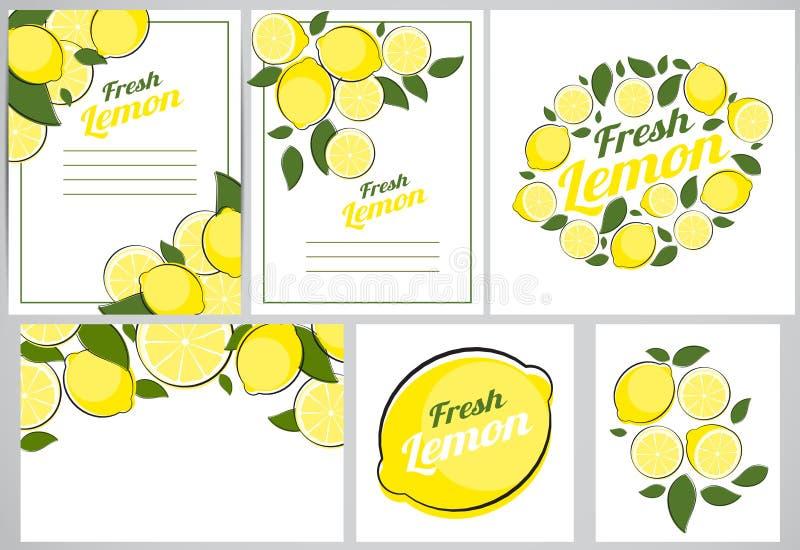 Ejemplo determinado del vector del limón de la colección abstracta del fondo natural libre illustration