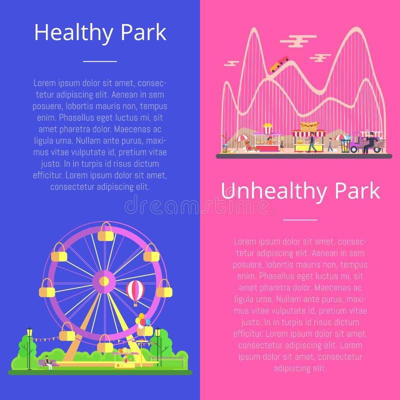 Ejemplo determinado del vector del parque sano y malsano libre illustration