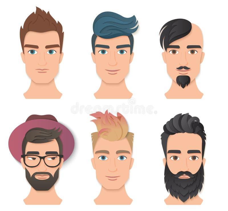 Ejemplo determinado del vector del retrato de la cara masculina del avatar Caras elegantes jovenes del hombre con las diversos ba stock de ilustración