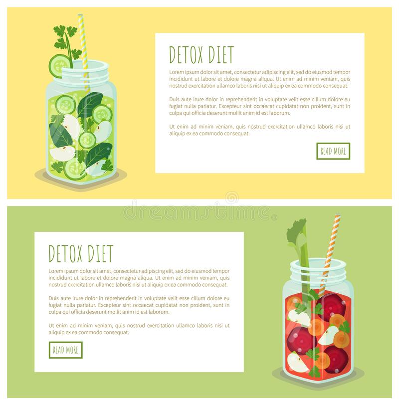 Ejemplo determinado del vector del tarro de la página web de la dieta del Detox libre illustration