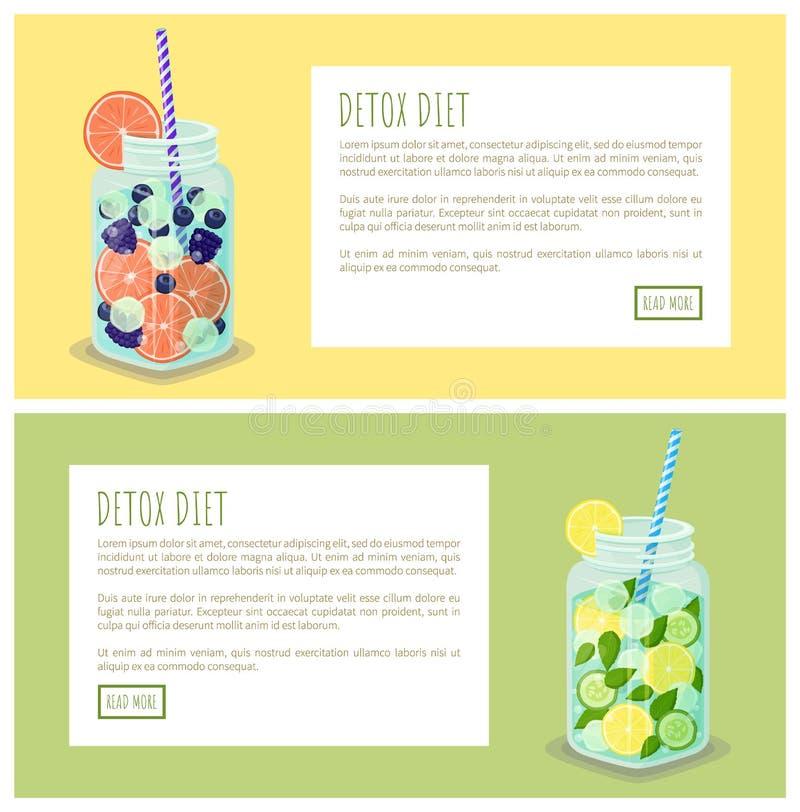 Ejemplo determinado del vector del web de las bebidas de la dieta del Detox ilustración del vector