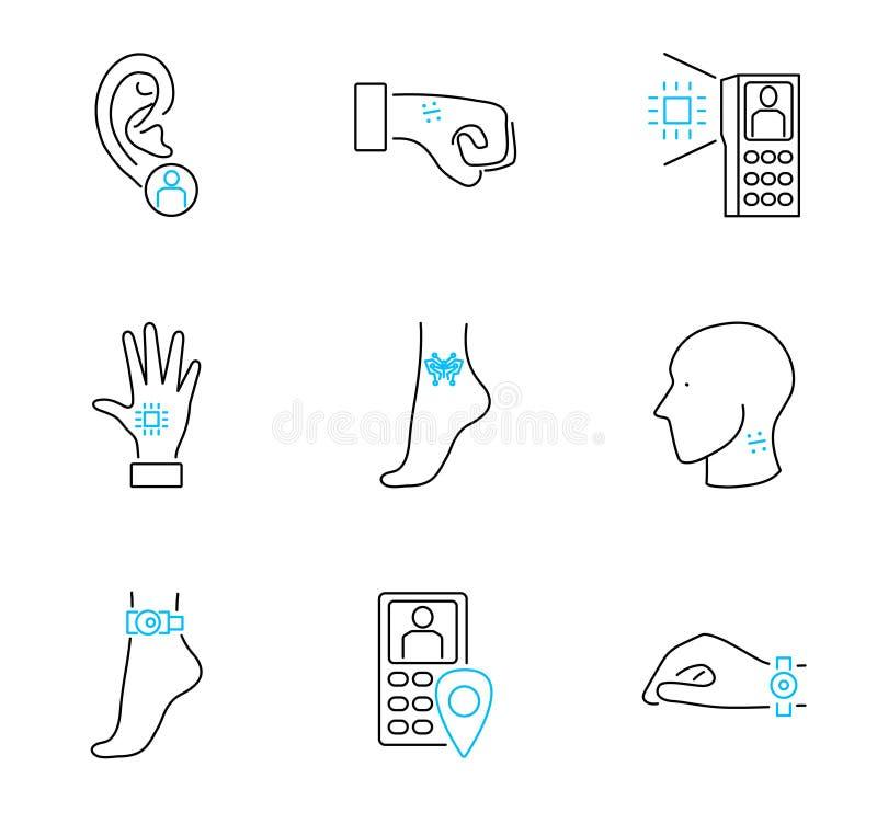 Ejemplo determinado electrónico humano del vector de la colección del icono del esquema que marca con etiqueta libre illustration