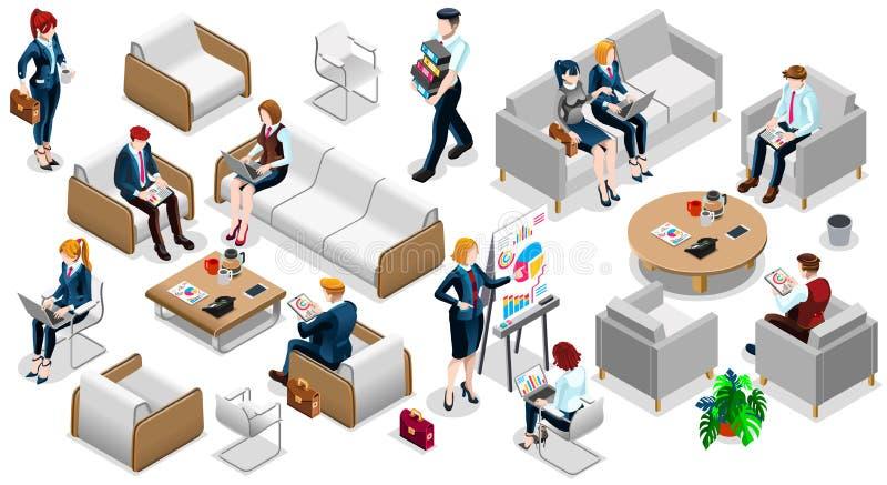 Ejemplo determinado isométrico del vector de Team Icon 3D del negocio de la gente ilustración del vector
