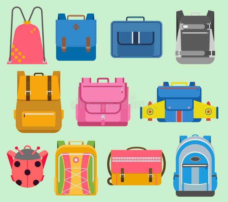 Ejemplo determinado plano de la mochila de la escuela de la mochila de los muchachos y de las muchachas de los niños de la mochil ilustración del vector