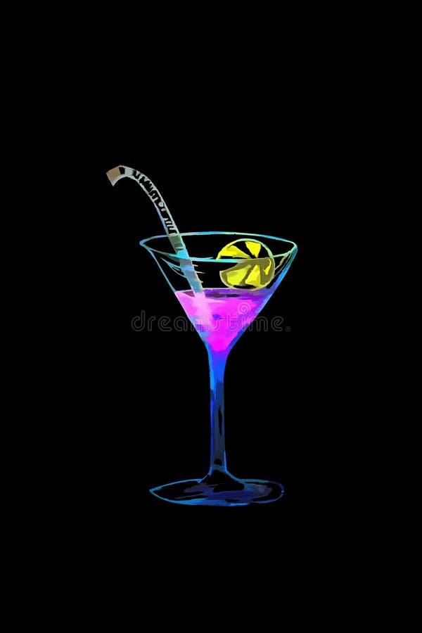 Ejemplo dibujado acuarela coloreado del vidrio con martini tema del cóctel Aislado en negro imagenes de archivo