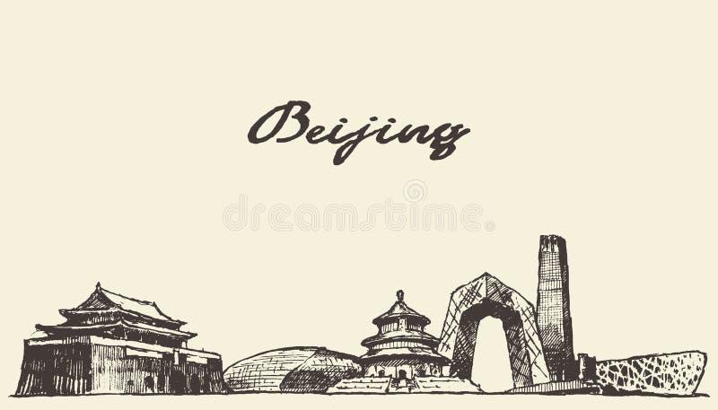 Ejemplo dibujado, bosquejo del vector del horizonte de Pekín stock de ilustración