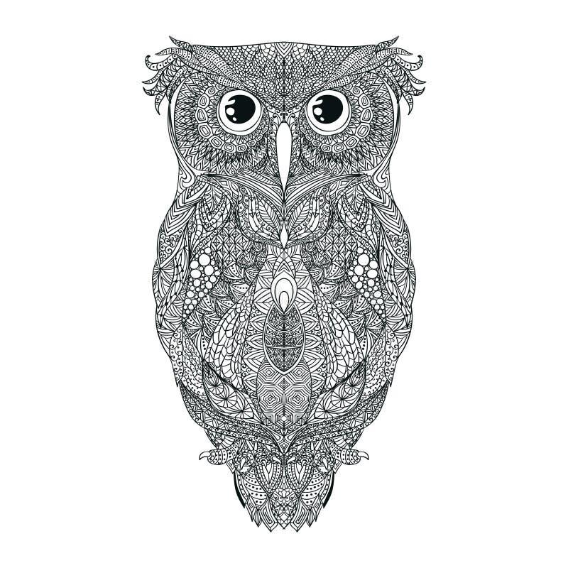 Ejemplo dibujado del tatuaje del búho de la mano negra del vector stock de ilustración