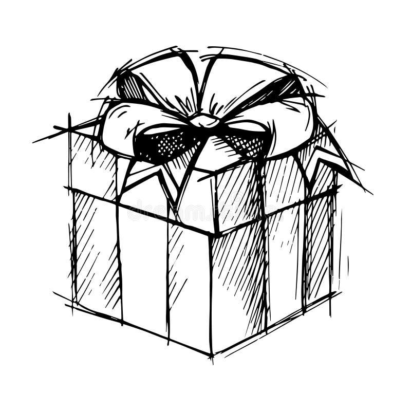 Ejemplo dibujado mano - caja de regalo mágica Vector libre illustration