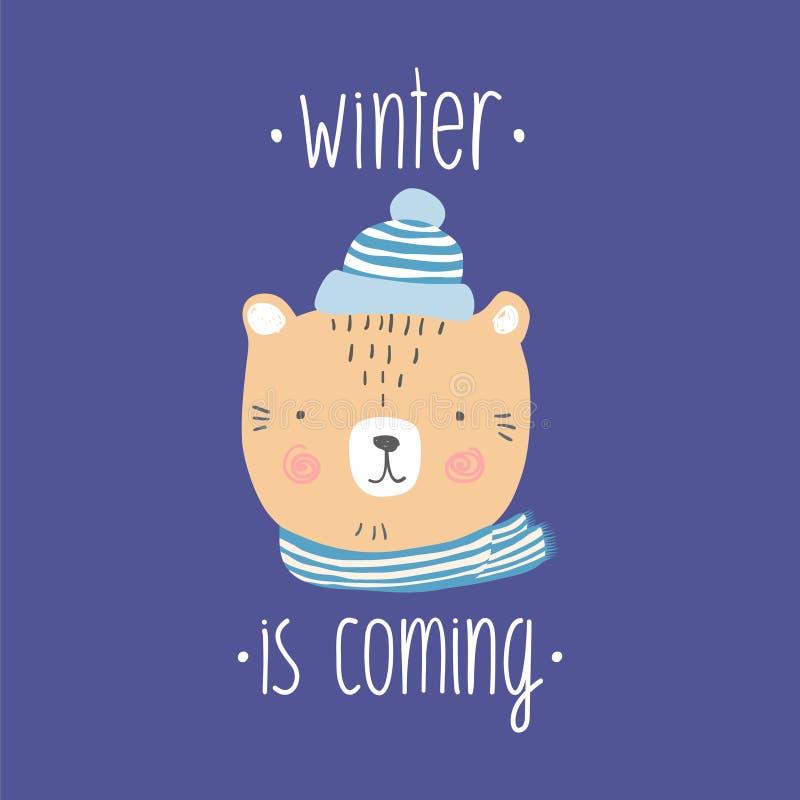 Ejemplo dibujado mano coloreado estilizado de la cabeza linda del oso con los copos de nieve El invierno es cita que viene Fondo  ilustración del vector