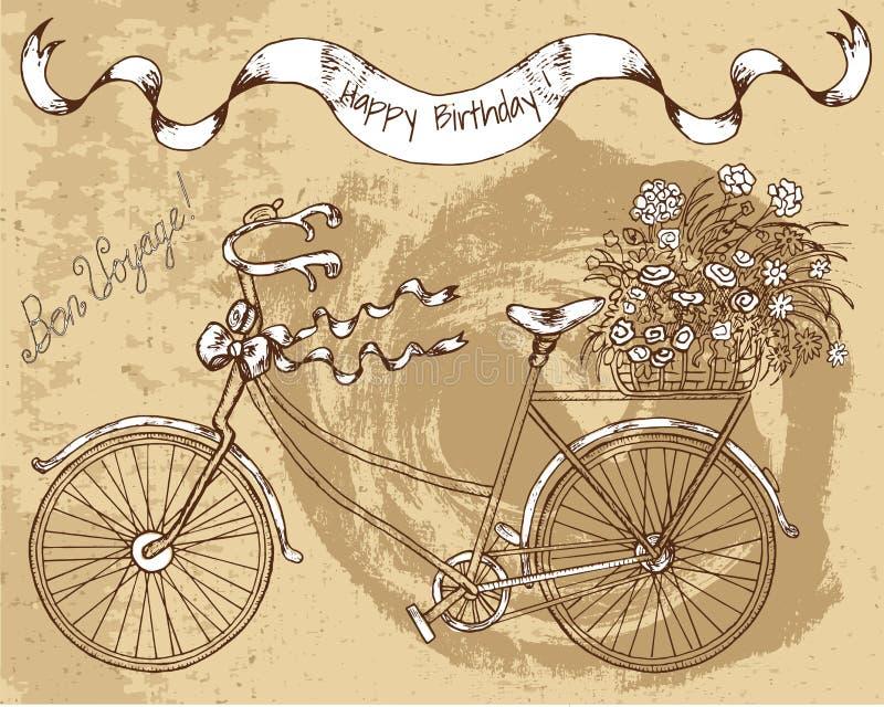 Ejemplo dibujado mano con la bici retra stock de ilustración