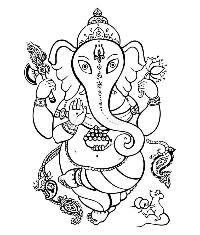 Ejemplo dibujado mano de Ganesha stock de ilustración