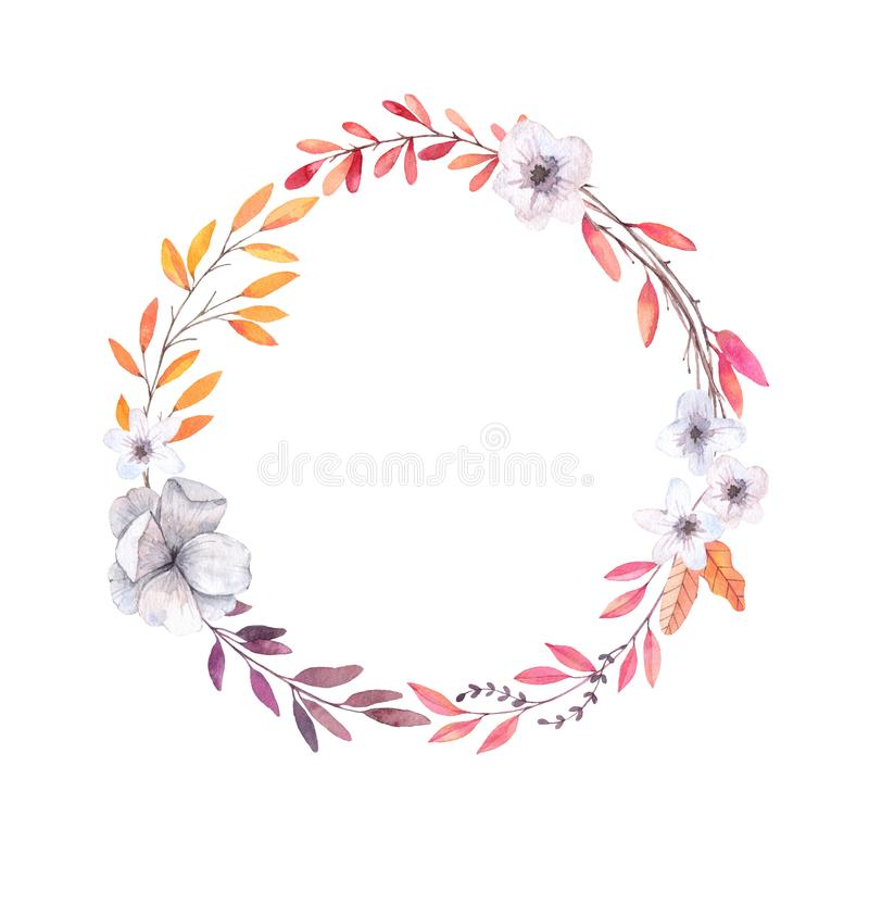 Ejemplo dibujado mano de la acuarela Autumn Wreath Hojas de la caída ilustración del vector