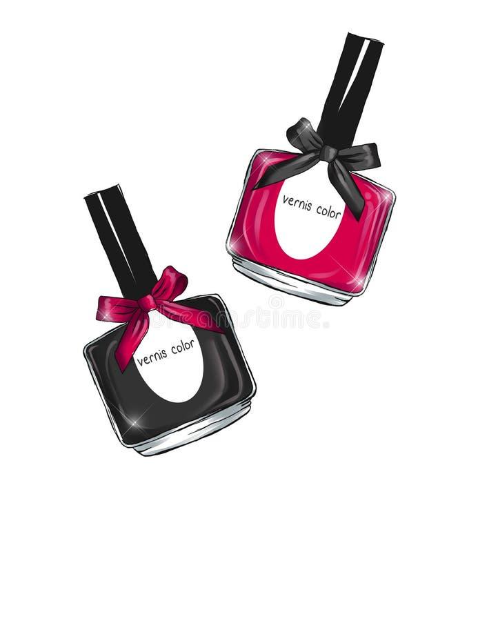 Ejemplo dibujado mano de la acuarela de la moda de las botellas del esmalte de uñas y del ejemplo de la belleza ilustración del vector