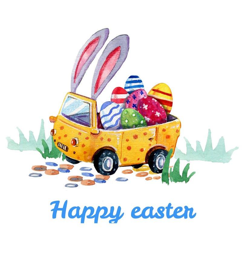 Ejemplo dibujado mano de la acuarela del coche de pascua con los oídos y los huevos del conejito dentro en la hierba para las tar libre illustration