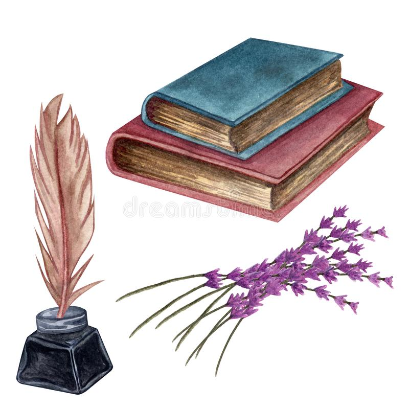 Ejemplo dibujado mano de la acuarela E Objetos antiguos ilustración del vector