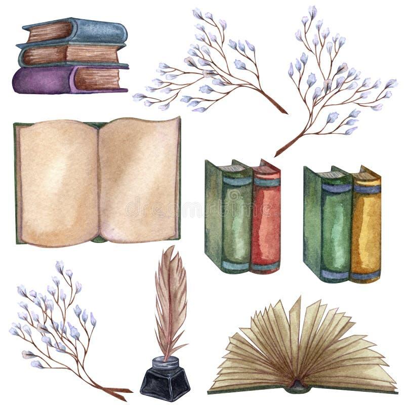 Ejemplo dibujado mano de la acuarela Fijado con una pila de libros viejos, botella de tinta, pluma de la tinta, ramitas florales, ilustración del vector