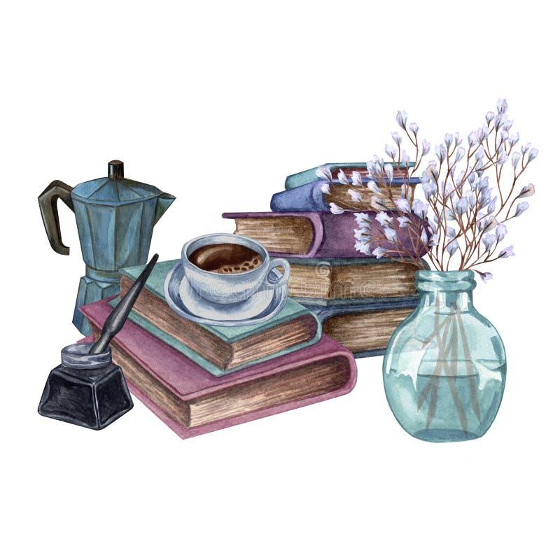 Ejemplo dibujado mano de la acuarela Una pila de libros viejos del color, botella de tinta, pluma de la tinta, ramita floral en u libre illustration