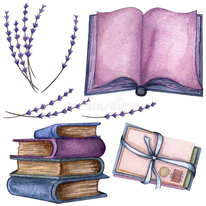 Ejemplo dibujado mano de la acuarela una pila de libros viejos, ramita de la lavanda, libro abierto, letras de amor stock de ilustración