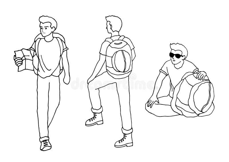 Ejemplo dibujado mano de la historieta del vector de la mochila del hombre del viajero libre illustration