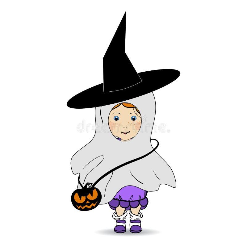 Ejemplo dibujado mano de la historieta de un feliz Halloween Niños Truco o convite stock de ilustración