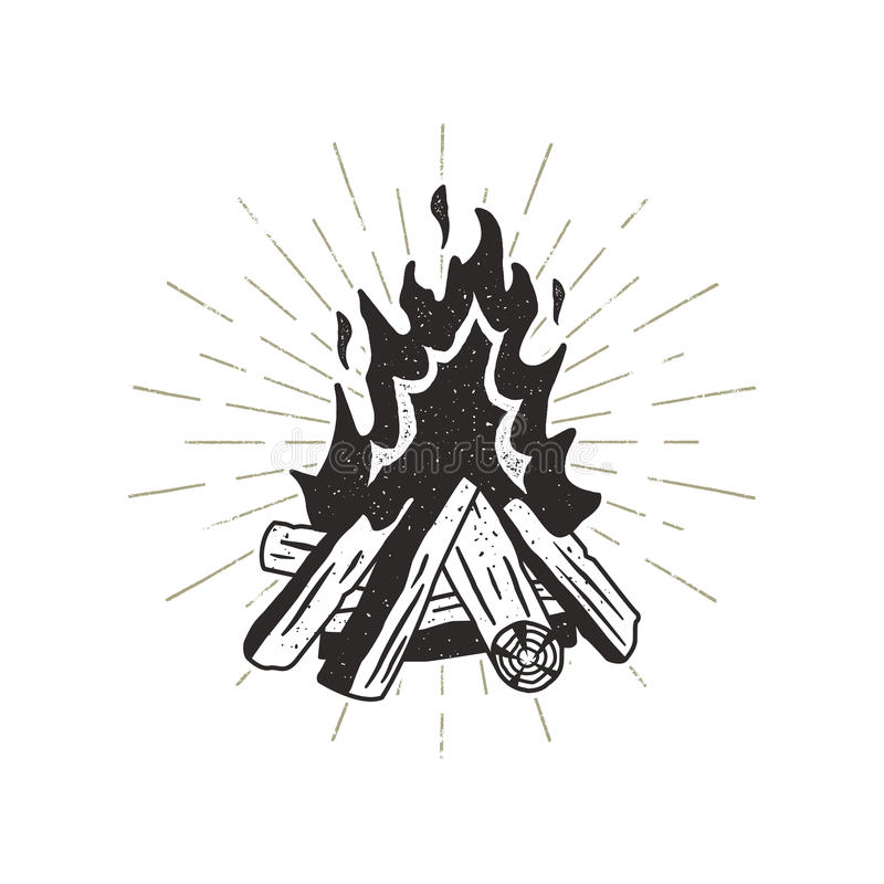 Ejemplo dibujado mano de la hoguera Resplandores solares incluidos Impresión temática que acampa al aire libre para la camiseta,  ilustración del vector