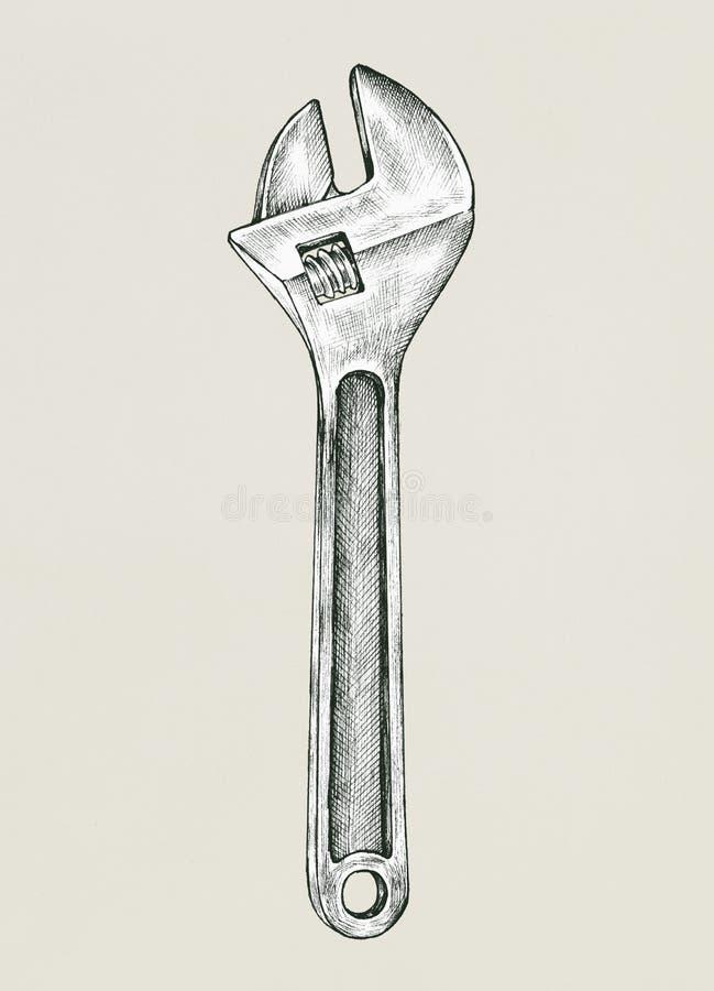 Ejemplo dibujado mano de la llave ajustable stock de ilustración