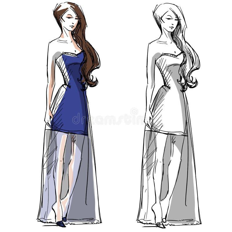 Ejemplo dibujado mano de la moda Alineada larga libre illustration