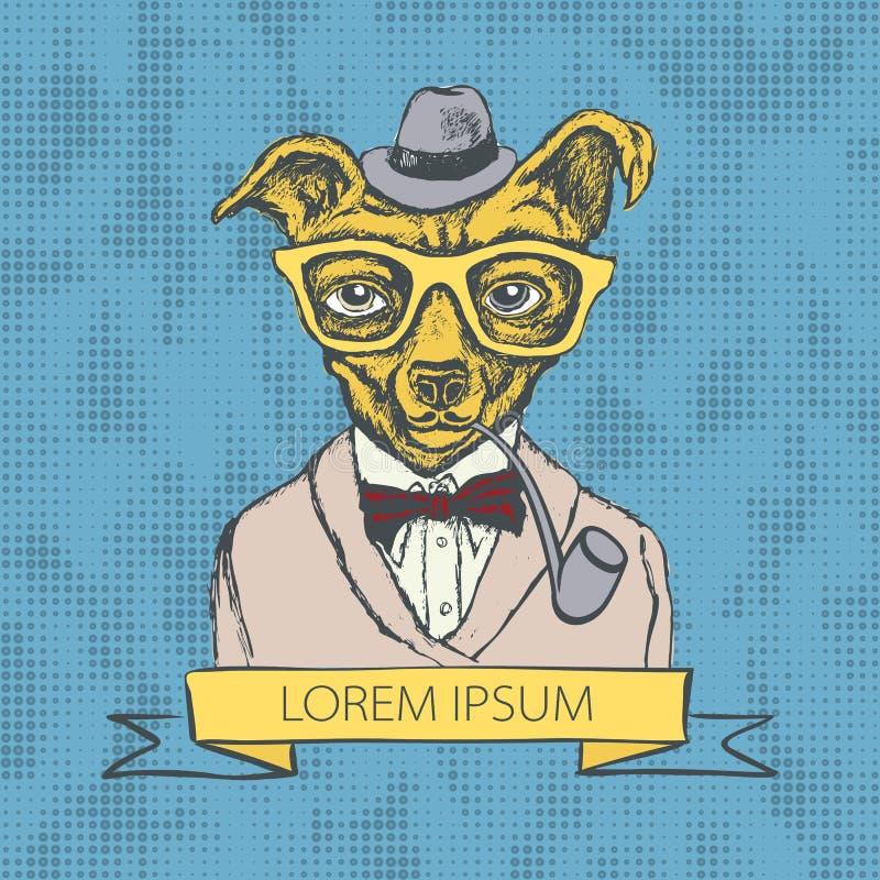 Ejemplo dibujado mano de la moda del inconformista del perrito en vector de los colores libre illustration
