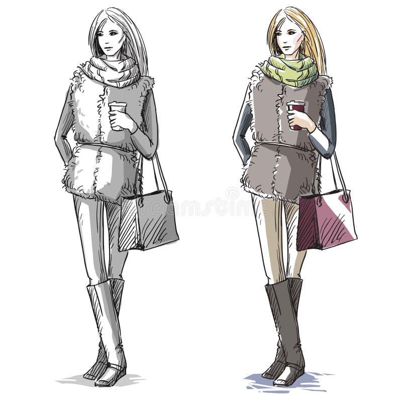 Ejemplo dibujado mano de la moda Moda de la calle ilustración del vector