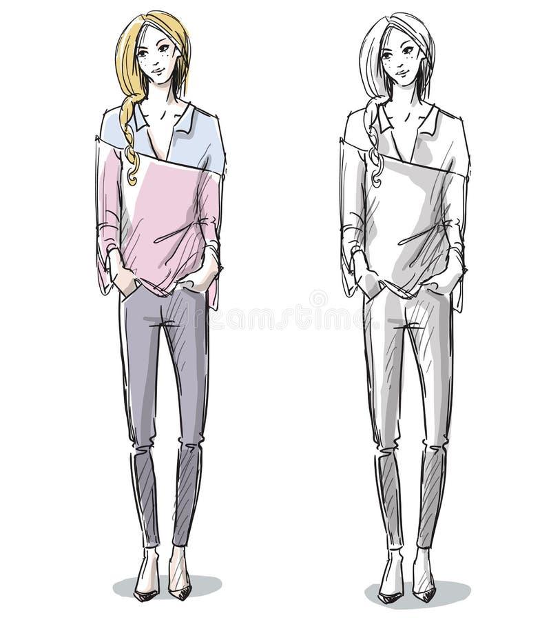 Ejemplo dibujado mano de la moda Moda de la calle libre illustration