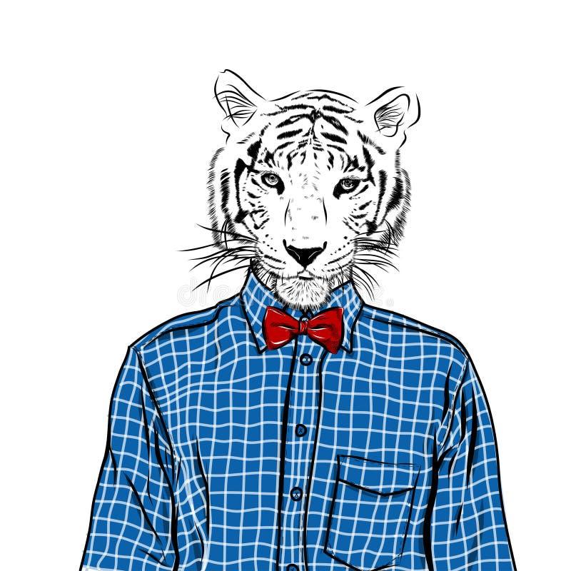 Ejemplo dibujado mano de la moda para arriba vestido del tigre, en colores Vector stock de ilustración
