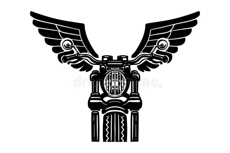 Ejemplo dibujado mano de la motocicleta con las alas Diseñe el elemento para el logotipo, etiqueta, emblema, muestra, insignia, c ilustración del vector