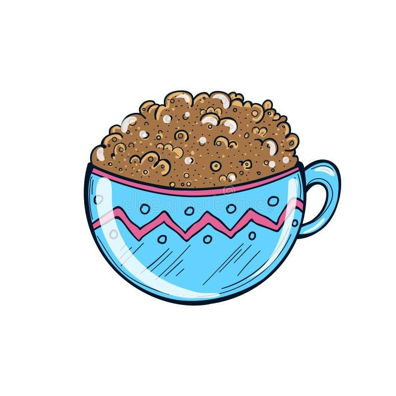 Ejemplo dibujado mano de la taza de café Milkshake Vector libre illustration